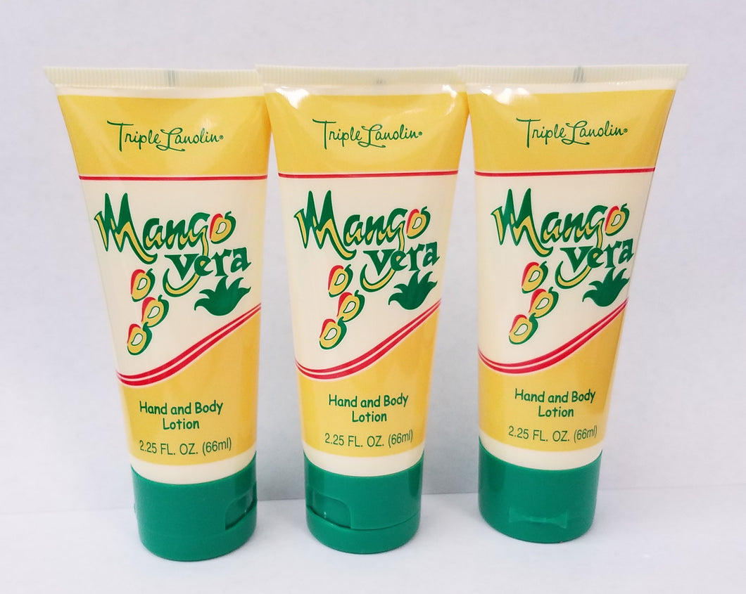 Triple Lanolin 2.25 Fl. Oz. Tubes MANGO Vera Hand & Body Lotion * Pack of 3