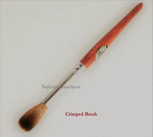Nail Brush - Petal Red Wood Handle For Acrylic Nail Manicure Pedicure Powder  (CRIMPED)