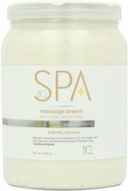 BCL Organic Spa Pedicure Massage Cream Half Gallon (64oz) - Milk + Honey w/ White Chocolate