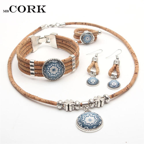 3asybuy Cork jewelry set Cork jewelry set from Portugal traditional ceramic tile pattern blue flower original Natural materials wooden jewelry Set-045
