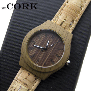 3asybuy Cork watch Cork watch strap with sliver/gold unisex Quartz watches with watch box original From PORTUGAL  Wa-80