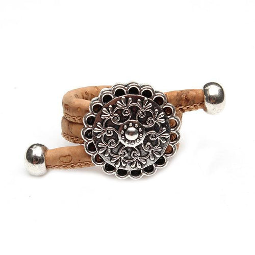 3asybuy flower women Ring Resizable / Natural / China Natural Cork Portuguese cork Antique Sliver vintage flower women Ring soft original, adjustable  handmade HR-030