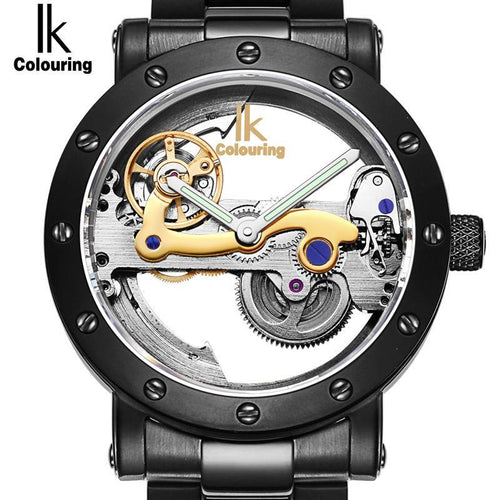 3asybuy Mechanical Watches Mens IK colouring Hollow Skeleton Automatic Mechanical Watches Mens