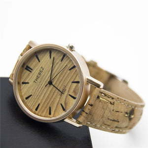 3asybuy men watches Natural Cork watch strap with gold color watch face wood color stainless steel Quartz men watches watch Wa-86