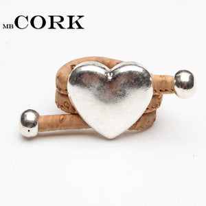 3asybuy Sliver love heart women Ring Natural Cork Portuguese cork Antique Sliver love heart women Ring soft original, adjustable  handmade HR-033