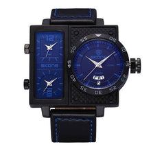 3asybuy Sport Watches Men Blue SKONE Multiple Time Zone Leather Military Watch Date Week Sport Watches Men