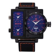 3asybuy Sport Watches Men Orange SKONE Multiple Time Zone Leather Military Watch Date Week Sport Watches Men