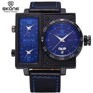 3asybuy Sport Watches Men SKONE Multiple Time Zone Leather Military Watch Date Week Sport Watches Men