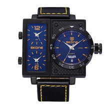 3asybuy Sport Watches Men Yellow SKONE Multiple Time Zone Leather Military Watch Date Week Sport Watches Men