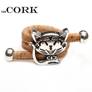 3asybuy vintage animal women Ring Natural Cork cute cat ring Antique Sliver vintage animal women Ring original adjustable  wooden jewelry HR-024