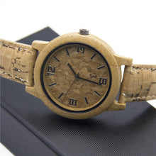3asybuy watch strap wood Bamboo watch with natural cork watch strap wood color Quartz men watches original unisex watch Wa-87