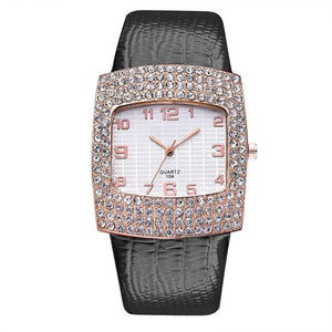 3asybuy Watch Women Luxury Black Diamond Rhinestone Big Dial Best Brand Popular Watch Women Luxury