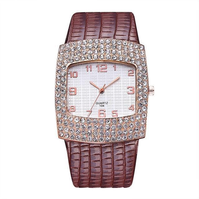 3asybuy Watch Women Luxury Brown Diamond Rhinestone Big Dial Best Brand Popular Watch Women Luxury