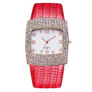 3asybuy Watch Women Luxury Red Diamond Rhinestone Big Dial Best Brand Popular Watch Women Luxury