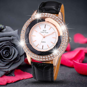 3asybuy Watches 2018 New Fashion Ladies Leather Crystal Diamond Rhinestone Watches