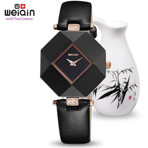 3asybuy Watches Women 100% Pure Ceramic Case! HOT WEIQIN Luxury Brand Top Leather Strap Fashion Watches Women