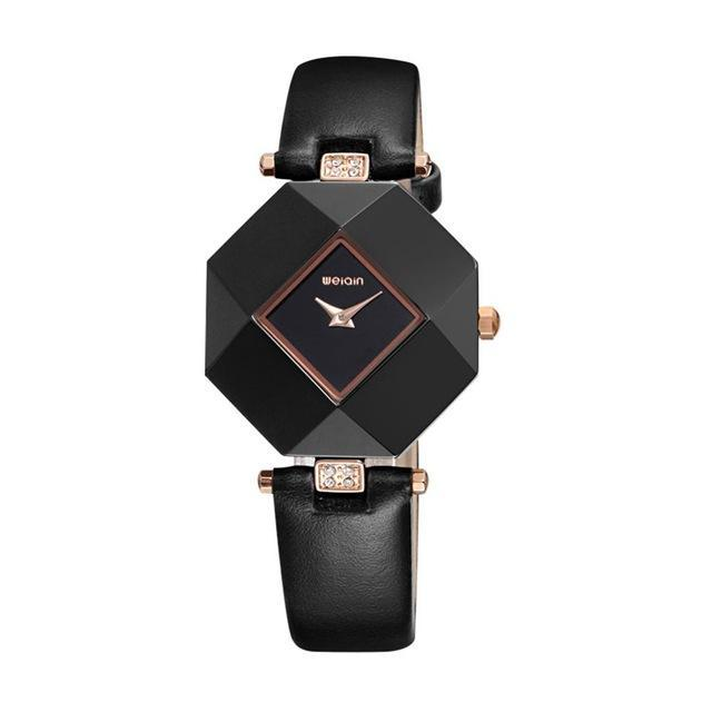 3asybuy Watches Women Black 100% Pure Ceramic Case! HOT WEIQIN Luxury Brand Top Leather Strap Fashion Watches Women
