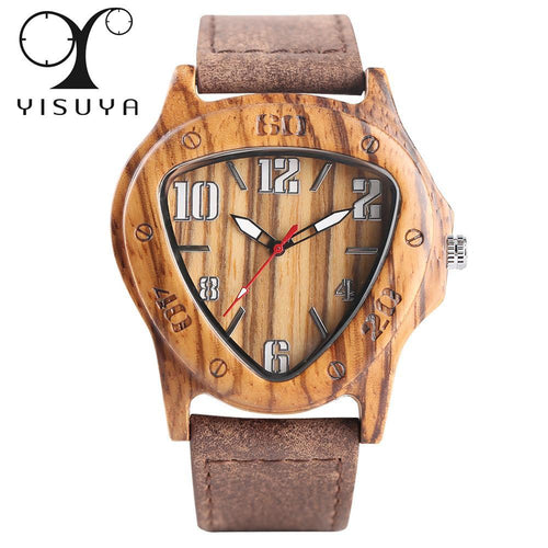 3asybuy Wood Watch Luxury Bamboo Wood Watch Men Inverted Triangle Dial Nature Wooden Handmade