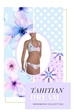 The Tahitian Dream collection of swimwear designed by Erica Valentin features cool pastel watercolor florals, polka dots & geometric patterns