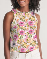 Pink Floral Women's Cropped Tank