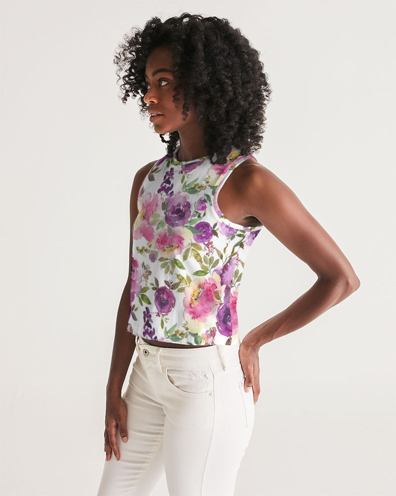 Bright Floral Women's Cropped Tank