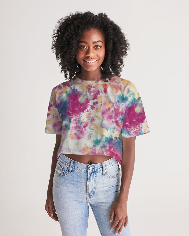 multicolor tie dye Women's Lounge Cropped Tee
