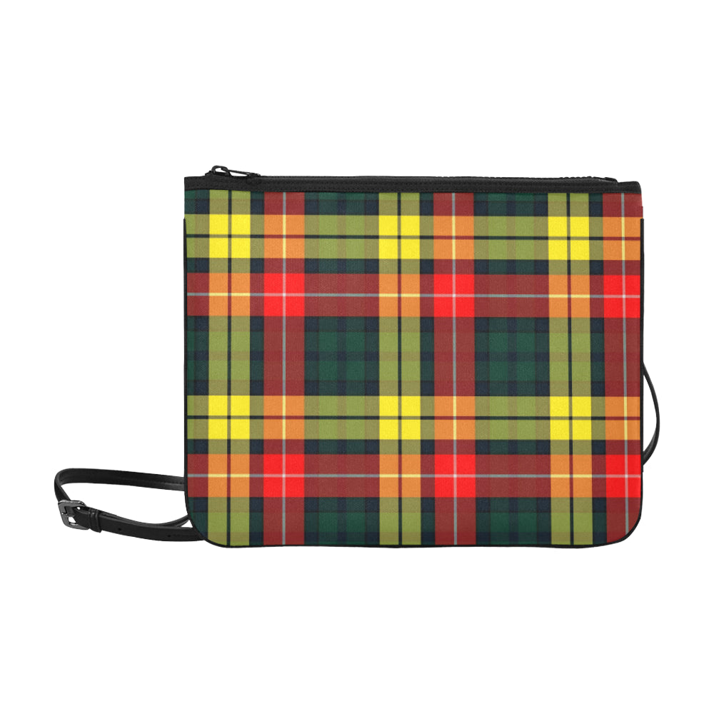 Slim Convertible Crossbody Clutch Bag - Modern Buchanan Tartan Print