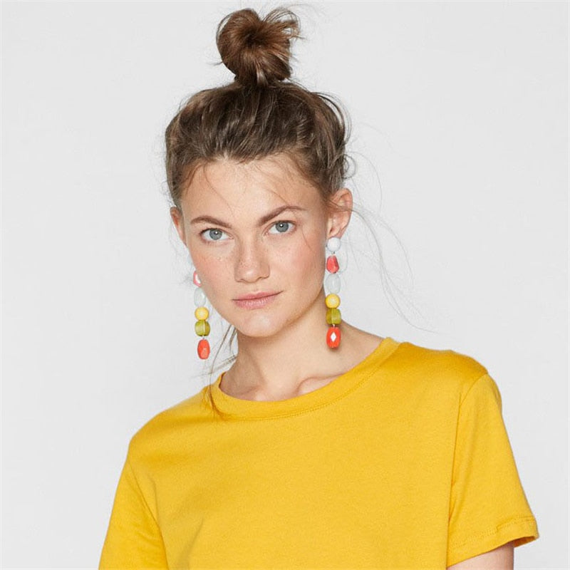 Zoe Earrings Multicolor Stone Drop Earrings