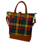Buckle Top Shoulder Tote Bag - Ancient Buchanan Plaid Tartan Print