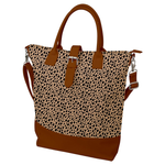 Buckle Top Shoulder Tote Bag - Cheetah Print