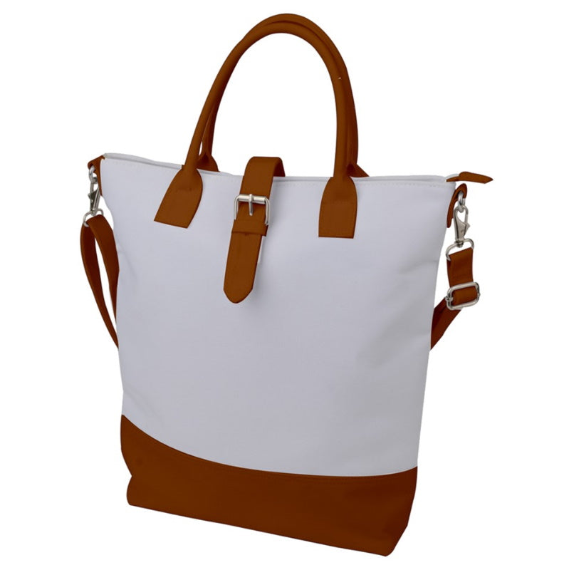 Buckle Top Shoulder Tote Bag - White and Brown Canvas