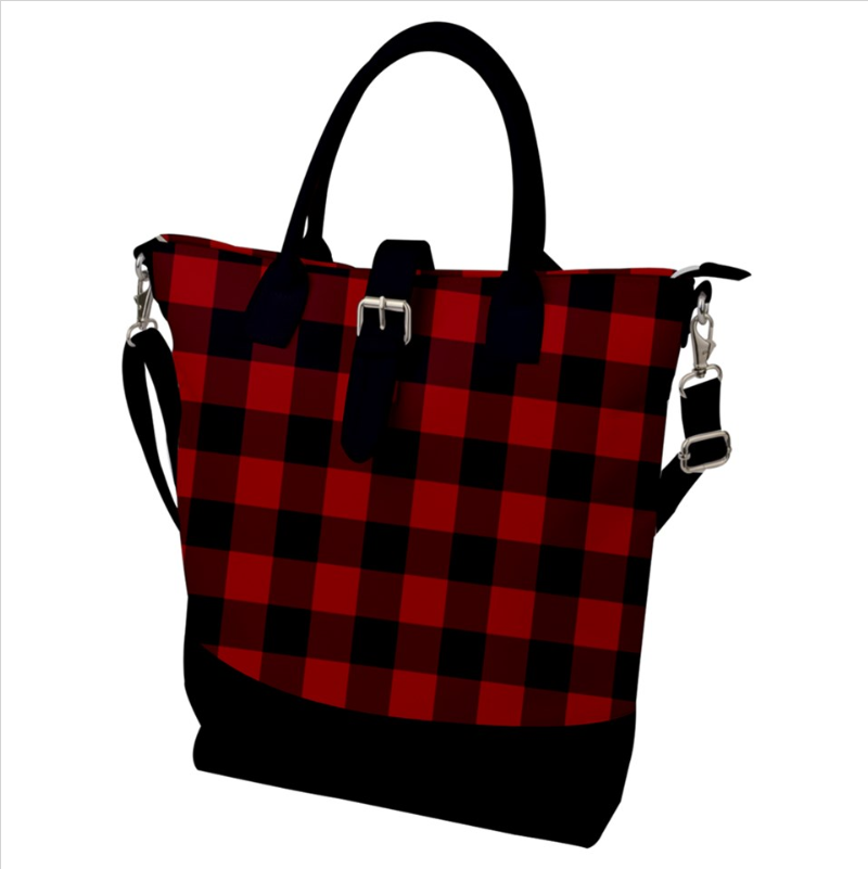Buckle Top Shoulder Tote Bag - Christmas Red and Black Buffalo Plaid
