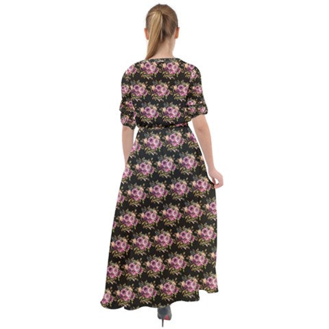 Waist Tie Button Down Boho Maxi Dress - Midnight Blossom