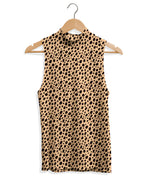 Mock Neck Tank - Cheetah Animal Print