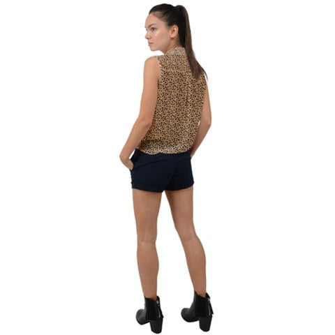 Button Down Tie-Front Top - Cheetah