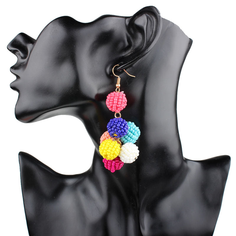 'MIRANDA' Beaded Cluster Statement Earrings