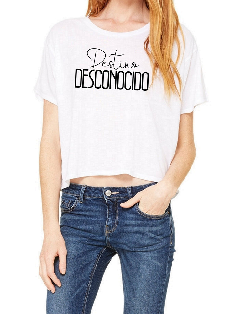 Boxy Cropped Tee - Destino Desconocido - Spanish Cropped Tee