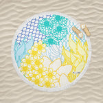 Key West Yellow & Blue - Round Fringe Towel