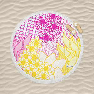 Key West Yellow & Pink - Round Fringe Towel