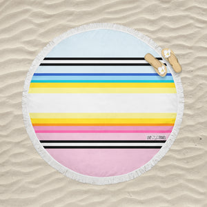 Pink Black Yellow & Blue Striped - Round Fringe Towel