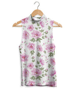 Mock Neck Tank - Pink and White Floral