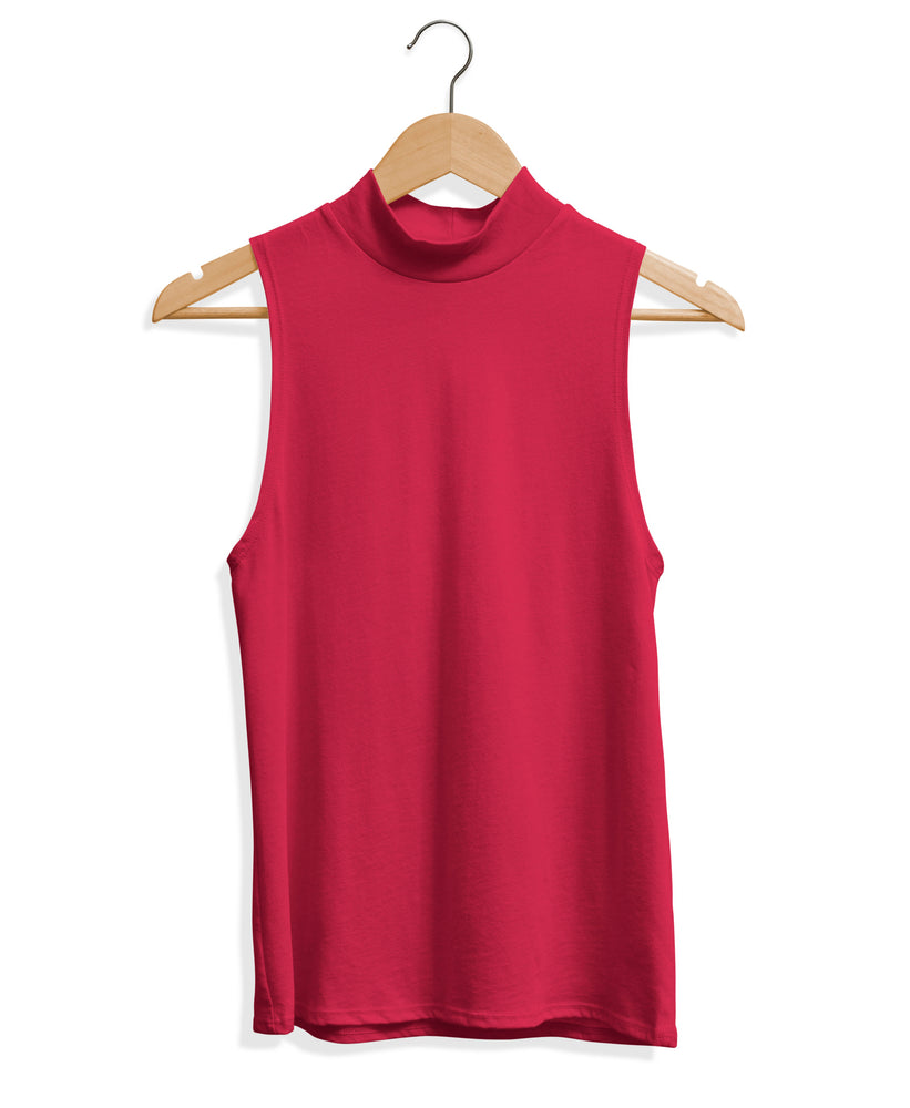 Mock Neck Tank - Red Raspberry