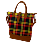 Buckle Top Shoulder Tote Bag - Modern Buchanan Plaid Tartan Print