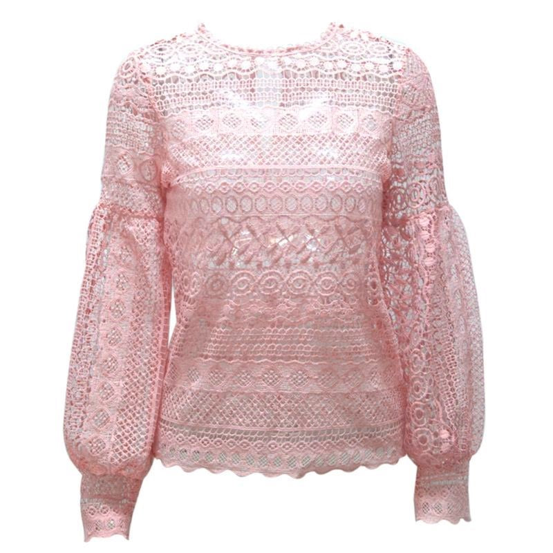 Lantern Sleeve Hollow Out Lace Top
