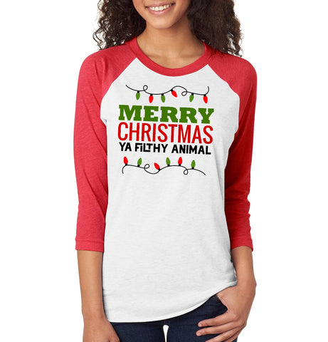 Merry Christmas Ya Filthy Animal - Raglan Sleeve Baseball Tee