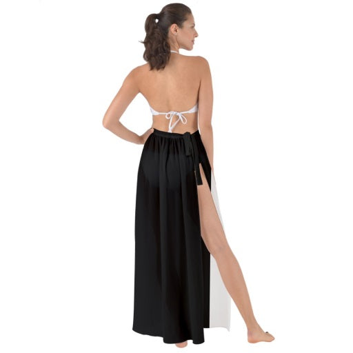 Tie-Waist Chiffon Sarong Cover Up - Black