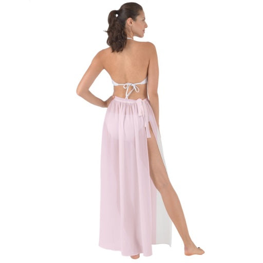 Tie-Waist Chiffon Sarong Cover Up - Pink
