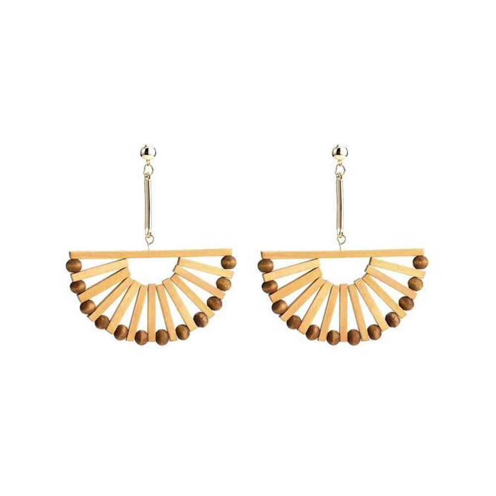 'THALIA' Gold and Bamboo Fan Earrings