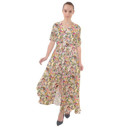 Waist Tie Button Down Boho Maxi Dress - Yellow Paisley Abstract