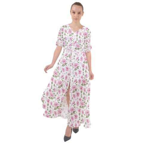 Waist Tie Button Down Boho Maxi Dress - White and Pink Floral